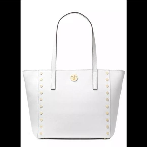 ed1a1f45db3f Michael Kors rivington stud medium tote bag white. NWT